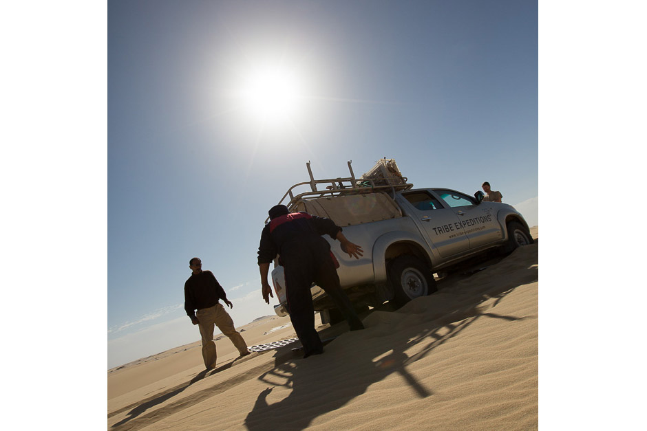 Car stucked in the dune of the Western desert of Egypt, 2013