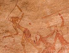 FRESCO OF IHEREN, CENTRAL SAHARA        イヘーレン岩壁画、中央サハラ